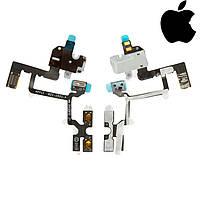 Шлейф для Apple iPhone 4, кнопок звука, коннектора наушников, с компонентами, белый, оригинал