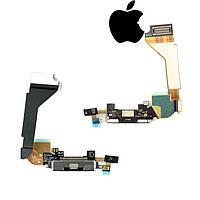 Шлейф для iPhone 4, коннектора зарядки, микрофона, с компонентами, черный, оригинал