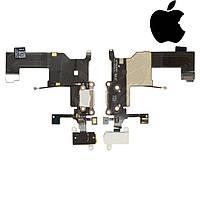 Шлейф для iPhone 5, коннектора зарядки, коннектор наушников, с компонентами, с микроф, белый, ориг.