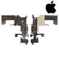 Шлейф для iPhone 5, коннектора зарядки, коннектора наушников, с компонентами, с микрофоном, оригинал