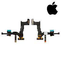 Шлейф для iPhone 5S, c датчиком приближения, с камерой, с компонентами, с микрофоном, оригинал