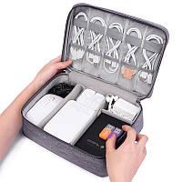 Сумка-органайзер для хранения кабелей, серый, фото 1