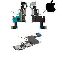 Шлейф для iPhone 6, коннектора зарядки, коннектора наушников, с компонентами, с микроф, белый