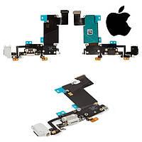 Шлейф для iPhone 6S Plus, коннектора зарядки, коннектора наушников, с компонентами, белый, оригинал