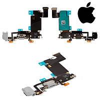 Шлейф для iPhone 6S Plus, коннектора зарядки, коннектора наушников, с компонентами, серый, оригинал