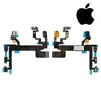 Шлейф для iPhone 5S, кнопки включения, боковых клавиш, с компонентами, с микрофоном, оригинал