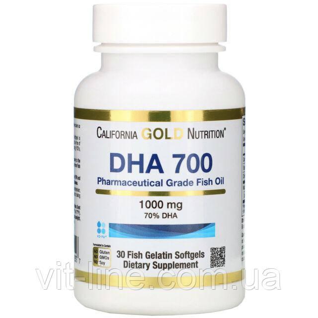 California Gold Nutrition, DHA 700, рыбий жир фармацевтической степени чистоты, 1000 мг, 30 капсул