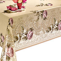 Клеенка с розами для стола на ПВХ основе