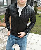 Бомбер кожаный мужской стеганый в ромб / куртка весенняя-осенняя черная Премиум качество