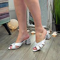 Шлепанцы женские белые кожаные на каблуке
