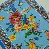 Готовий бавовняний рушник з квітами і етнічним візерунком на блакитному 45х60 см, фото 1