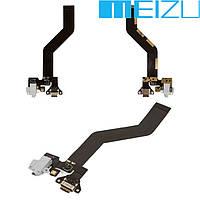 Шлейф для Meizu Pro 6 (M570), коннектора зарядки, белый, с компонентами, оригинал