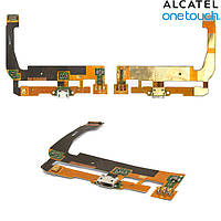 Шлейф для Alcatel One Touch 7047 POP C9 Bluish, коннектора зарядки, с компонентами, оригинал