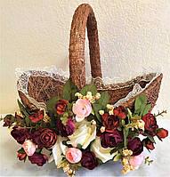 Корзина пасхальная декорированная большая (40*38*25)