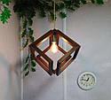 Подвесной светильник из первосортного дерева, современный стиль, бесконечный контур квадрата, фото 2