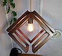 Подвесной светильник из первосортного дерева, современный стиль, бесконечный контур квадрата, фото 4