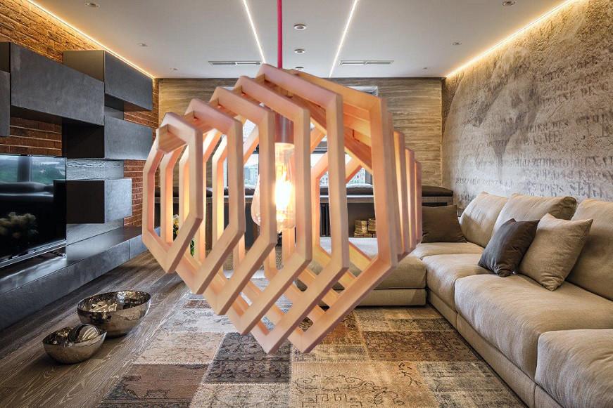 Подвесной светильник из первосортного дерева, современный стиль, деревянные кольца, темный