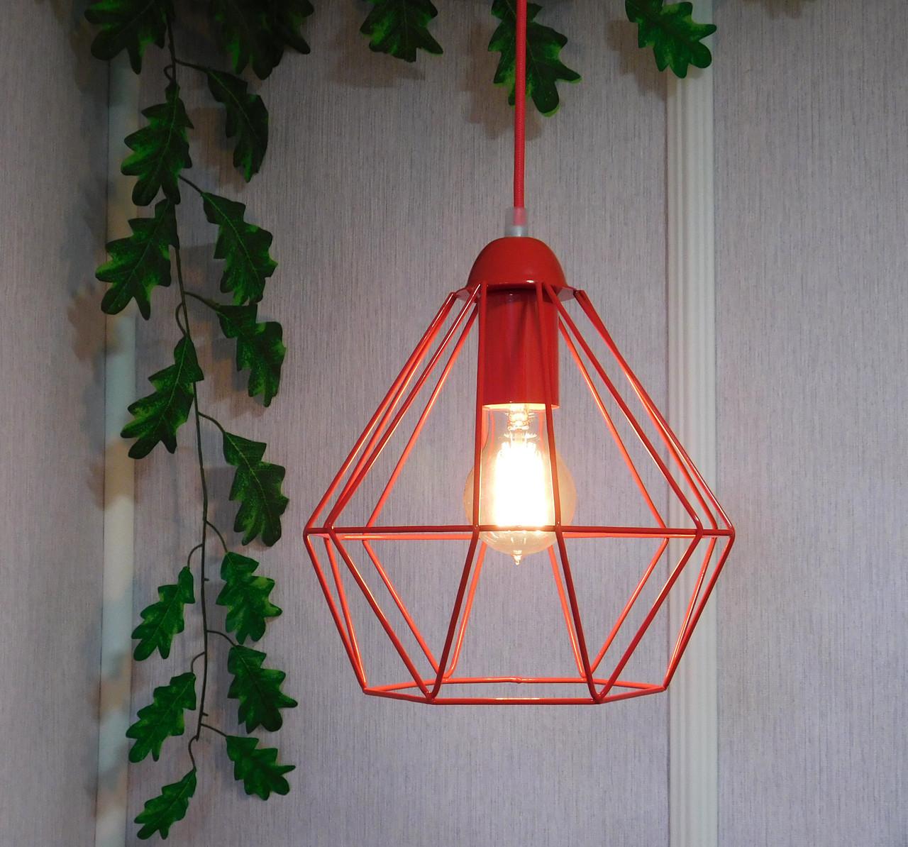 """Подвесной металлический светильник, современный стиль, loft, vintage, modern style """"CLASSIC-R"""" Е27 красны цвет"""
