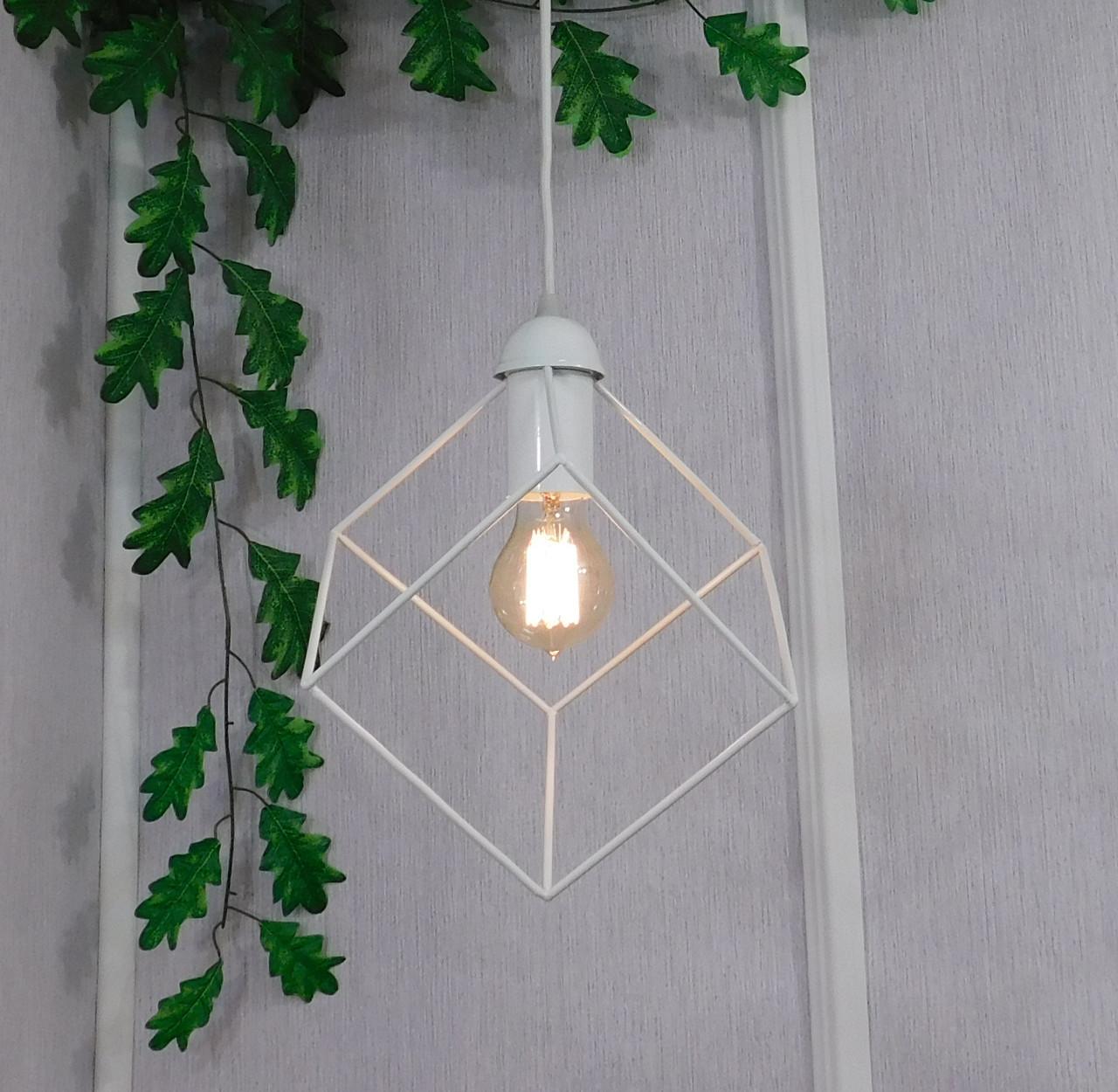 """Подвесной металлический светильник, современный стиль, loft, vintage, modern style """"CUBE-W"""" Е27  белый цвет"""