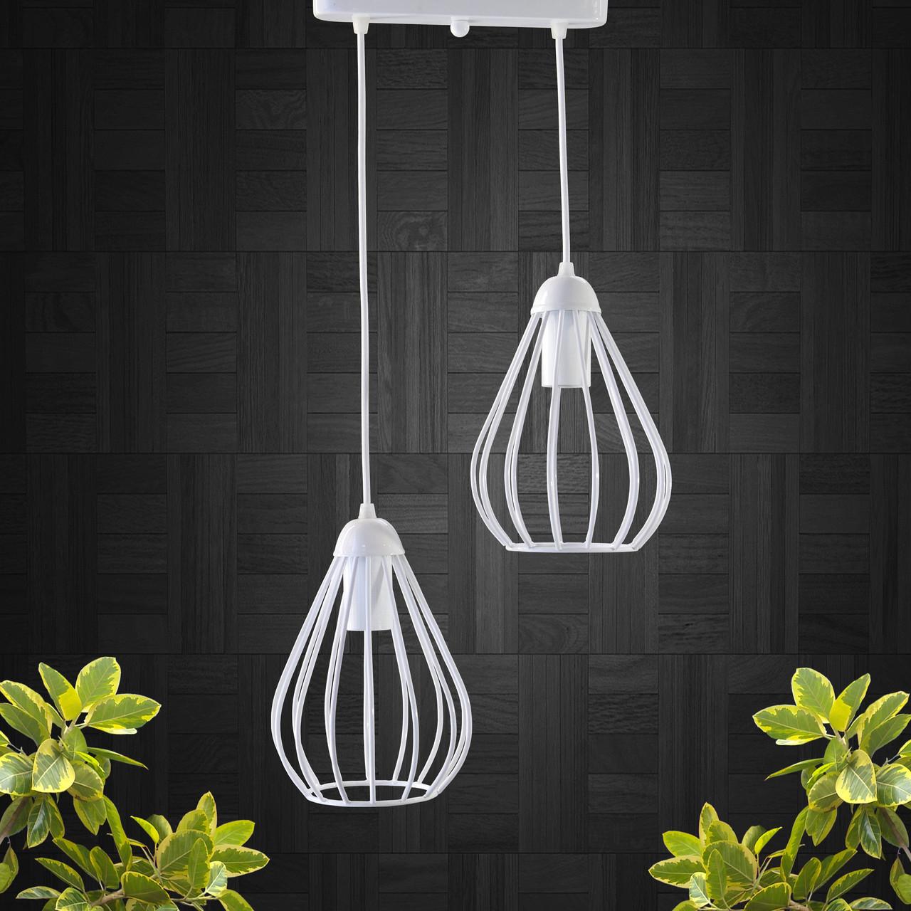 """Подвесной металлический светильник, современный стиль, loft, vintage, modern style """"KAPLIA-2WM"""" Е27  белый"""