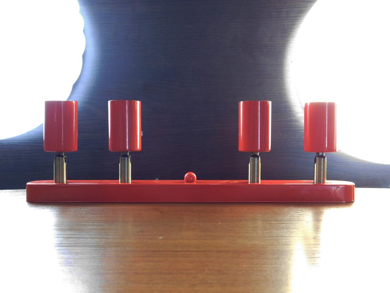 Настенный светильник, спот поворотный, потолочная лампа, на четыре лампы, красный цвет