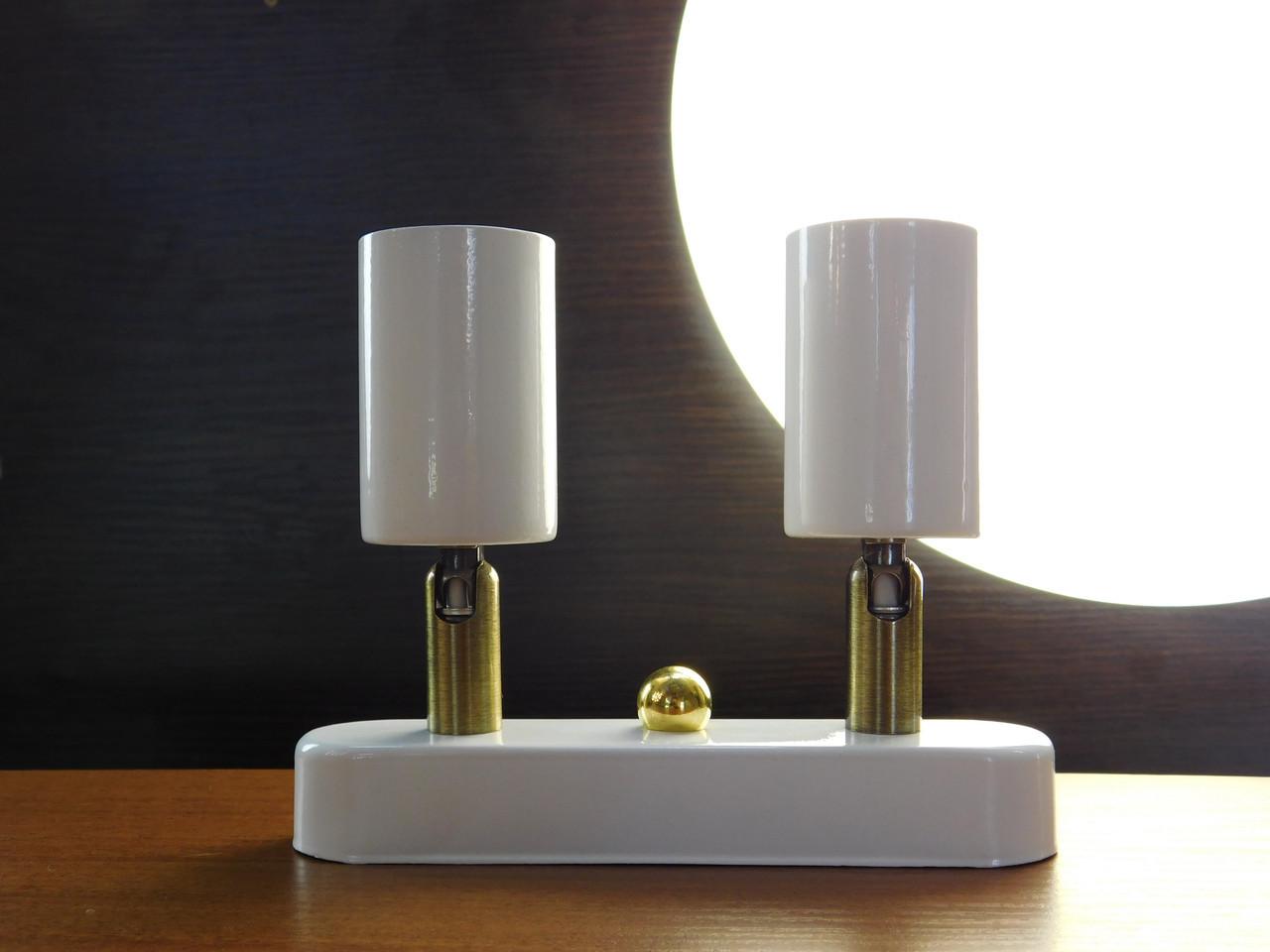 Настенный светильник, спот поворотный, потолочная лампа, на две лампы, белый цвет, мини