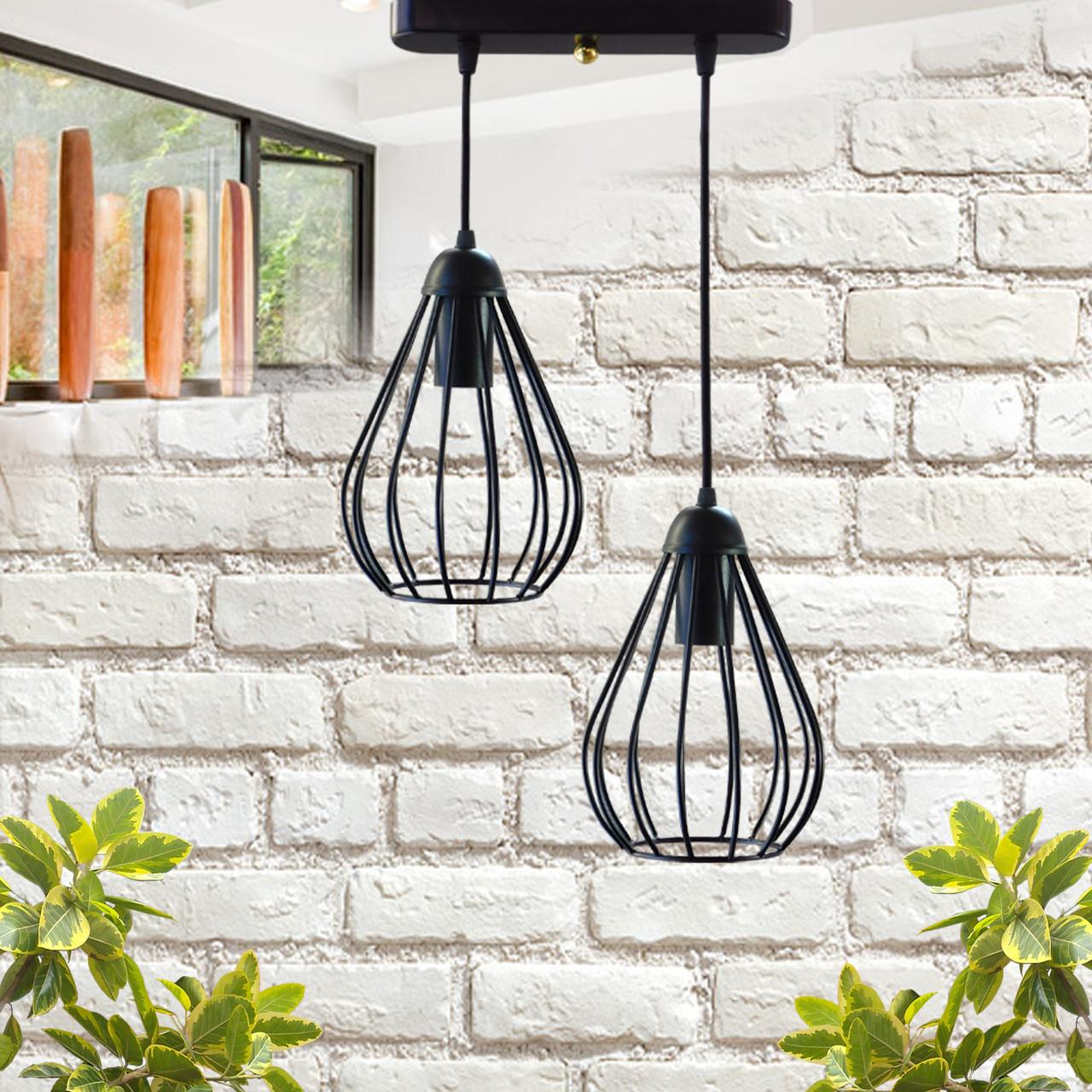 """Подвесной металлический светильник, современный стиль, loft, vintage, modern style """"KAPLIA-2"""" Е27  черный"""