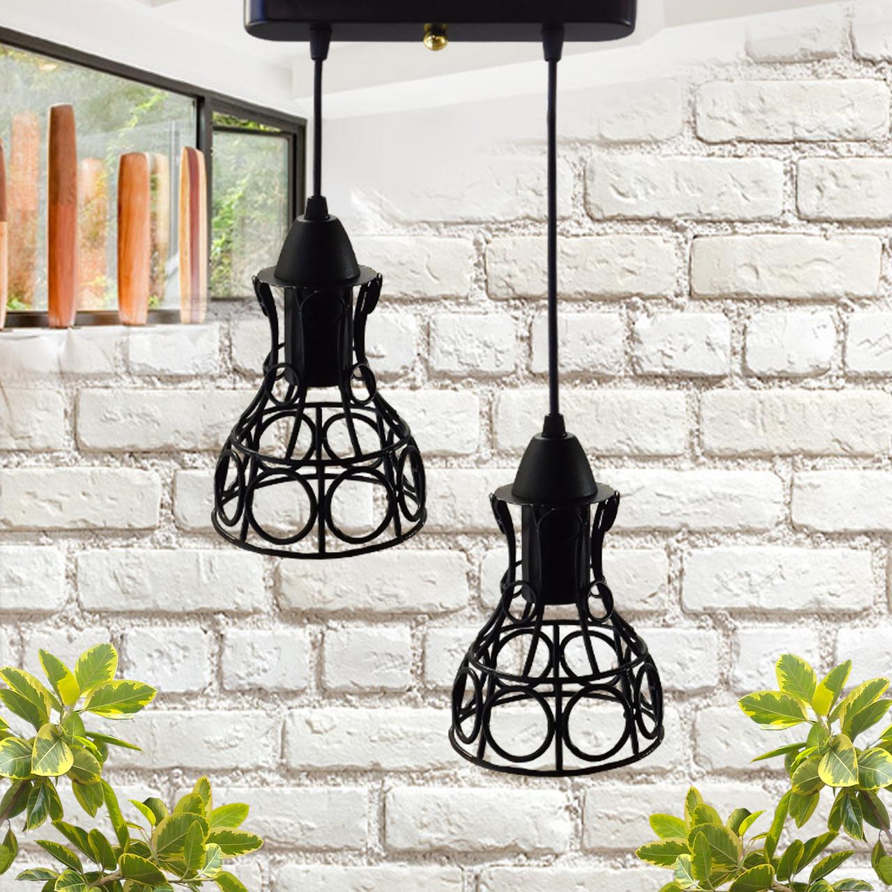 """Подвесной металлический светильник, современный стиль, loft, vintage, modern style """"RINGS-2"""" Е27  черный"""