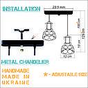 """Подвесной металлический светильник, современный стиль, loft, vintage, modern style """"RINGS-2"""" Е27  черный, фото 2"""