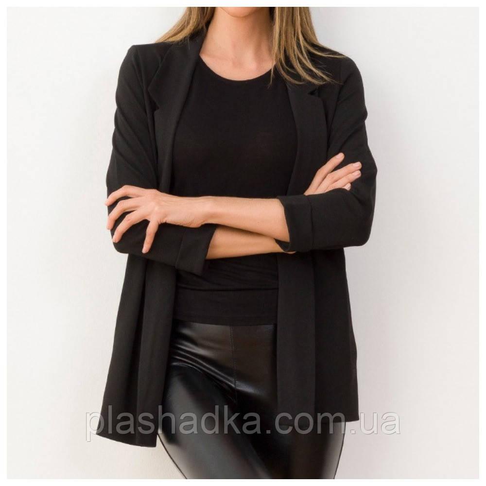 Пиджак женский удлиненный черный, трикотажный, с рукавом 3/4 (Турция)