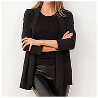 Пиджак женский удлиненный черный, трикотажный, с рукавом 3/4 (Турция), фото 1