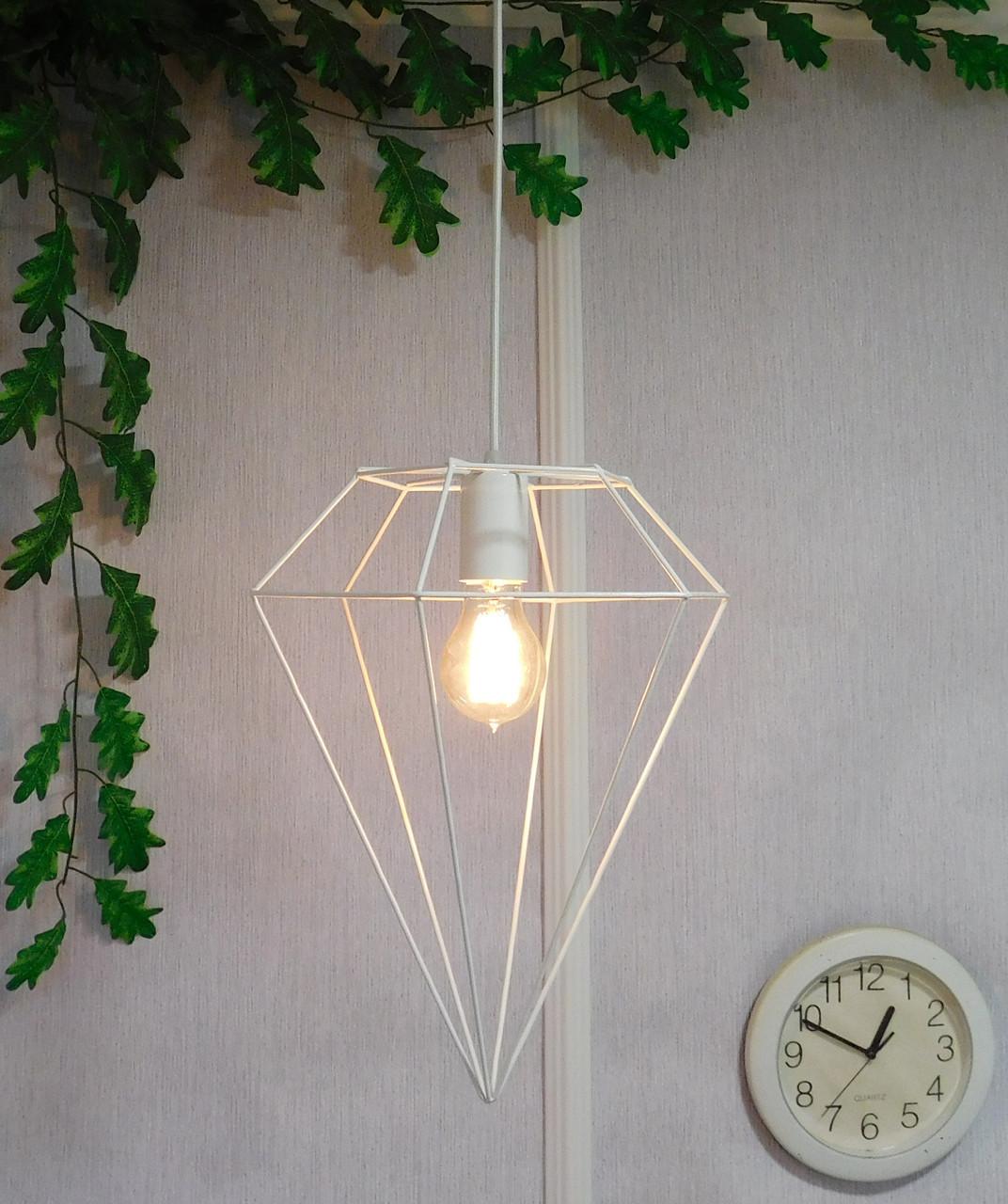 """Подвесной металлический светильник, современный стиль, loft, vintage, modern style """"CRYSTAL-W"""" Е27  белый цвет"""