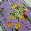 Готовий бавовняний рушник з букетами квітів на бузковому 45х60 см