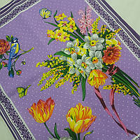 Готовий бавовняний рушник з букетами квітів на бузковому 45х60 см, фото 1