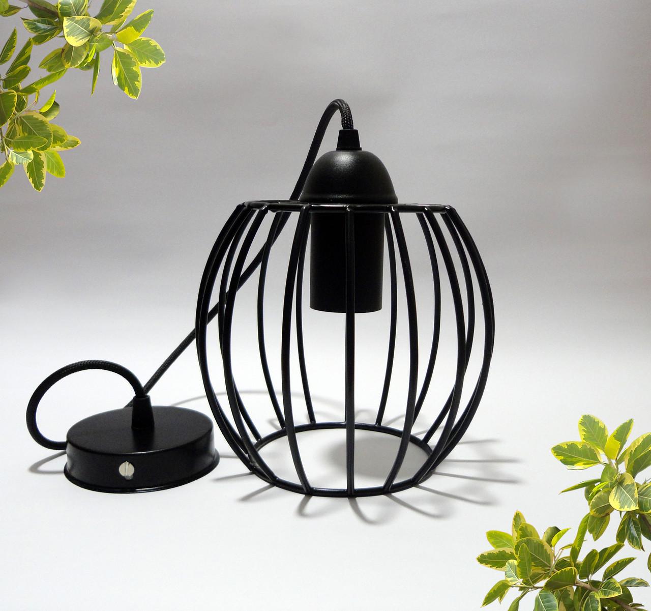 """Подвесной металлический светильник, современный стиль, loft, vintage, modern style """"BARREL"""" Е27  черный цвет"""