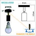 Настенный светильник, спот поворотный, потолочная лампа, на одну лампу, оранжевый цвет, фото 6