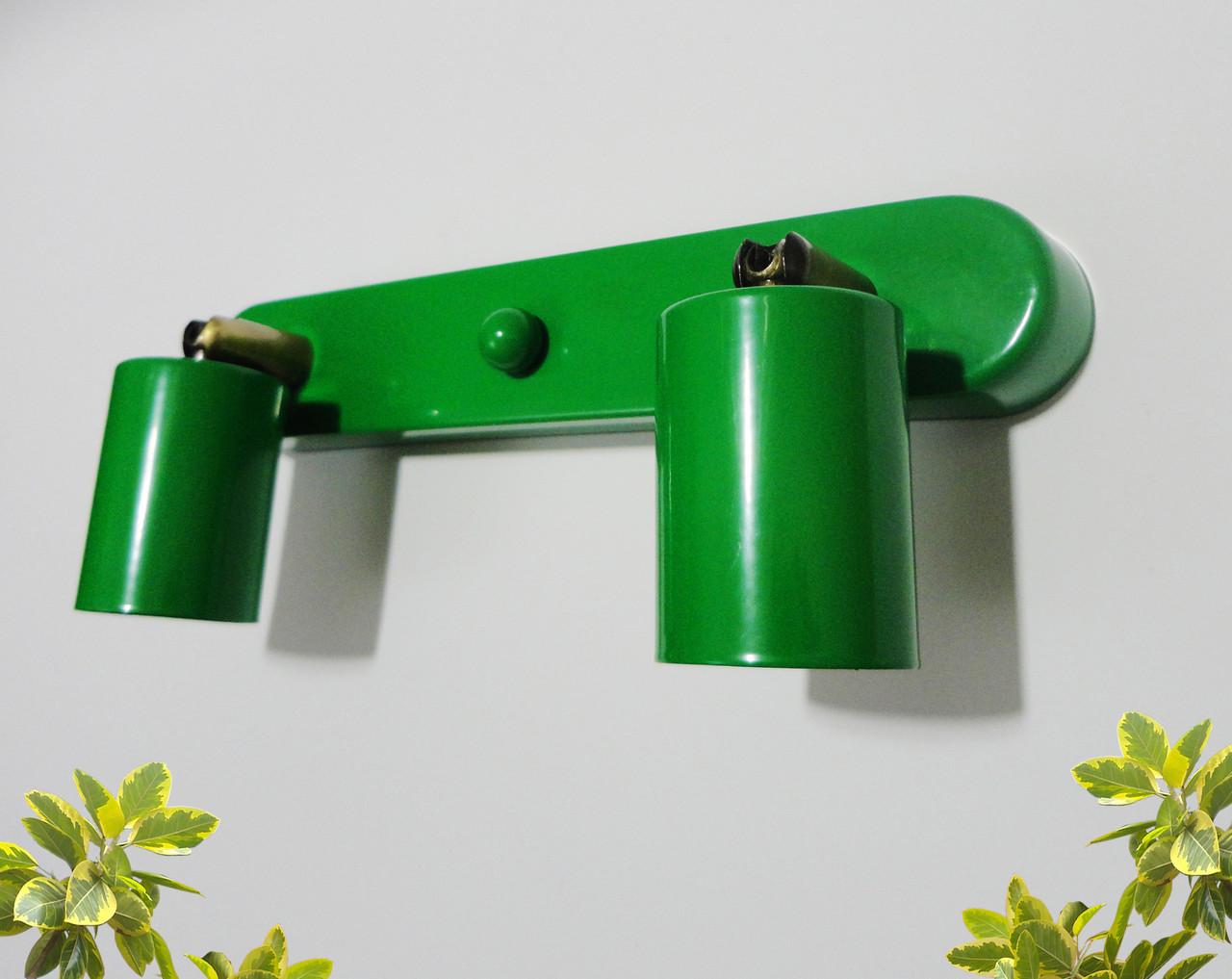 Настенный светильник, спот поворотный, потолочный светильник, на две лампы, Е27 зеленый цвет