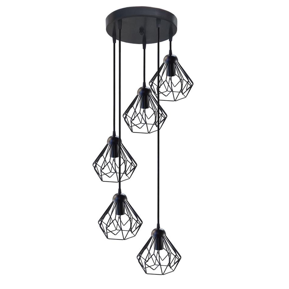 """Подвесной металлический светильник, современный стиль, loft, vintage, modern style """"SKRAB-5G"""" Е27  черный цвет"""