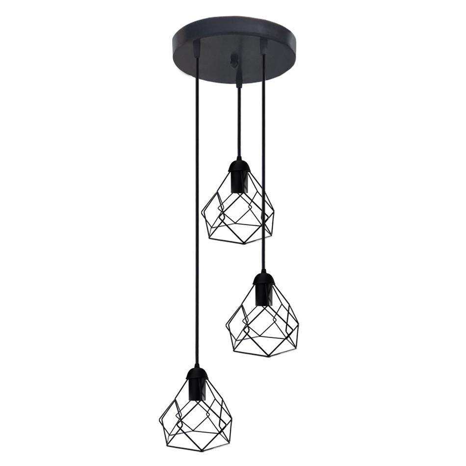 """Подвесной металлический светильник, современный стиль, loft, vintage, modern style """"RUBY-3GB"""" Е27  черный цвет"""