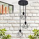 """Подвесной металлический светильник, современный стиль, loft, vintage, modern style """"RUBY-3GB"""" Е27  черный цвет, фото 2"""
