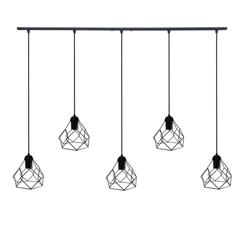 """Подвесной металлический светильник, современный стиль, loft, vintage, modern style """"RUBY-5"""" Е27  черный цвет"""