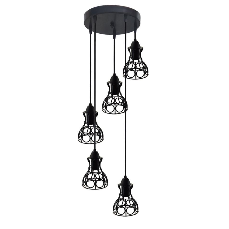 """Подвесной металлический светильник, современный стиль, loft, vintage, modern style """"RINGS-5G"""" Е27  черный цвет"""