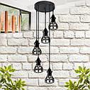 """Подвесной металлический светильник, современный стиль, loft, vintage, modern style """"RINGS-5G"""" Е27  черный цвет, фото 2"""