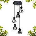 """Подвесной металлический светильник, современный стиль, loft, vintage, modern style """"RINGS-5G"""" Е27  черный цвет, фото 4"""