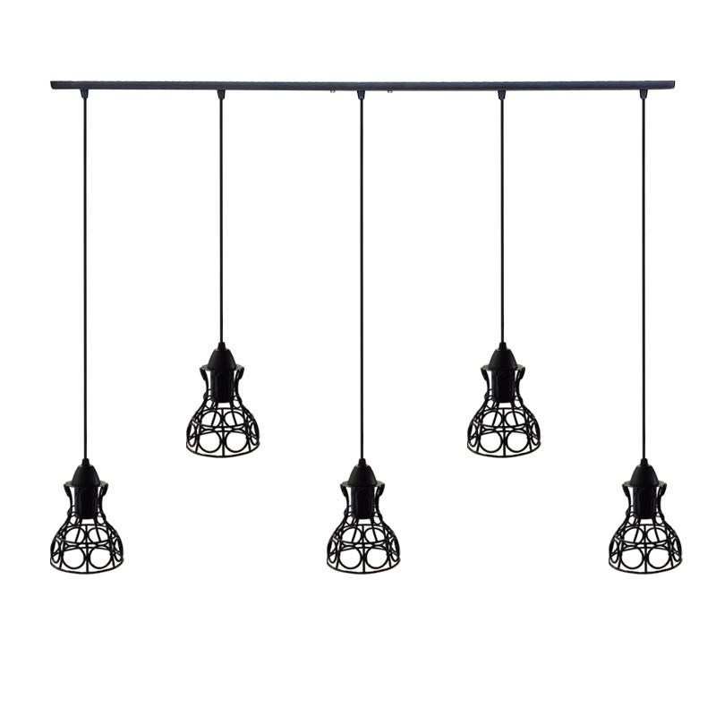 """Подвесной металлический светильник, современный стиль, loft, vintage, modern style """"RINGS-5"""" Е27  черный цвет"""