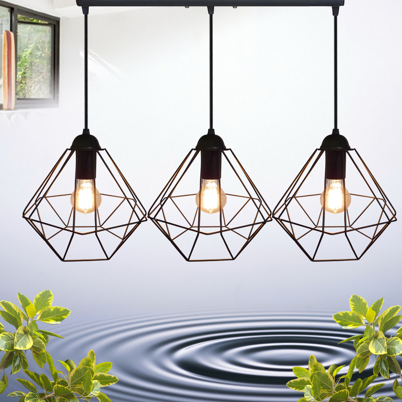 """Подвесной металлический светильник, современный стиль, loft, vintage  """"CLASSIC-3"""" Е27  черный цвет"""