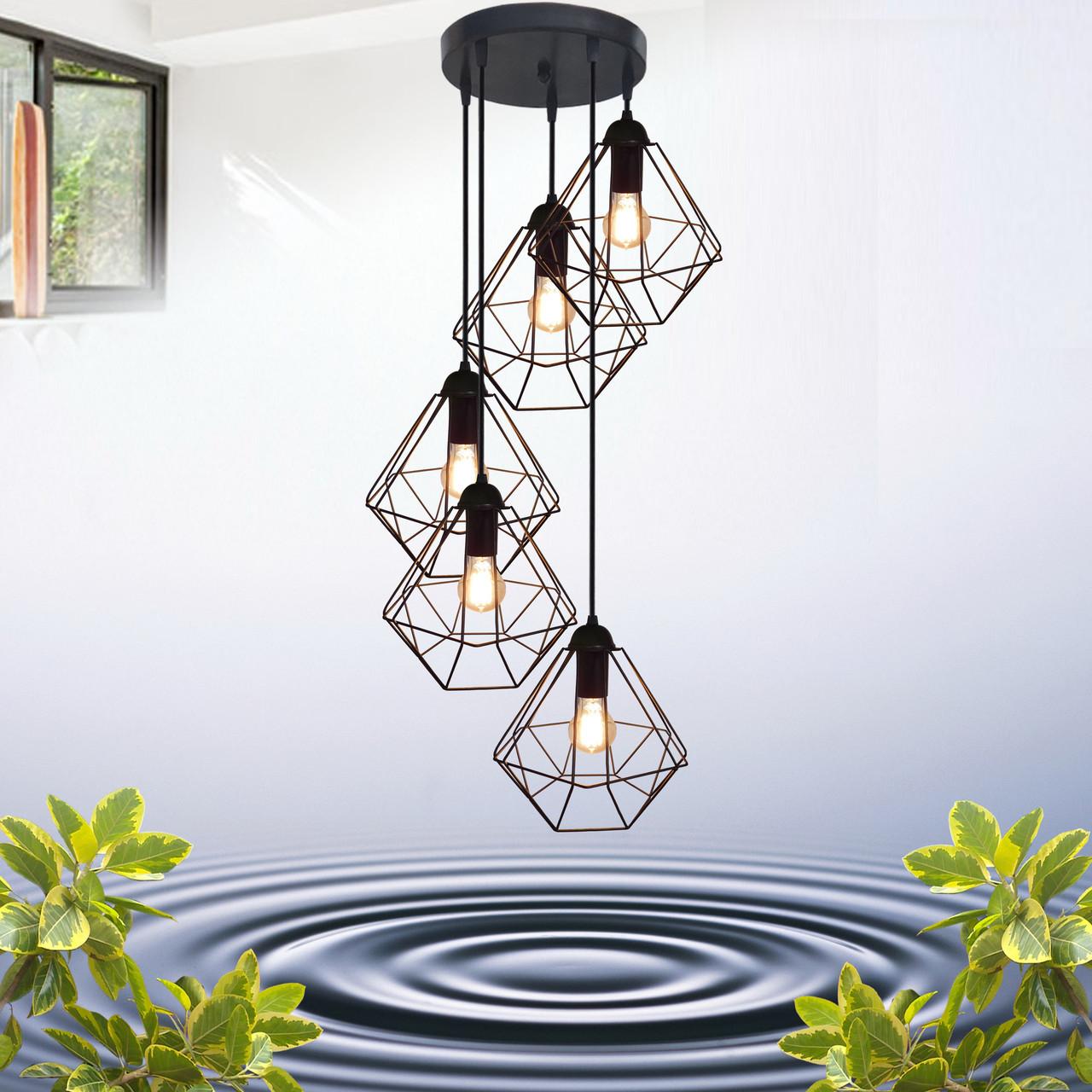 """Подвесной металлический светильник, современный стиль, loft, vintage  """"CLASSIC-5G"""" Е27  черный цвет"""