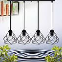 """Подвесной металлический светильник, современный стиль, loft, vintage, modern style """"RUBY-4"""" Е27  черный цвет, фото 3"""
