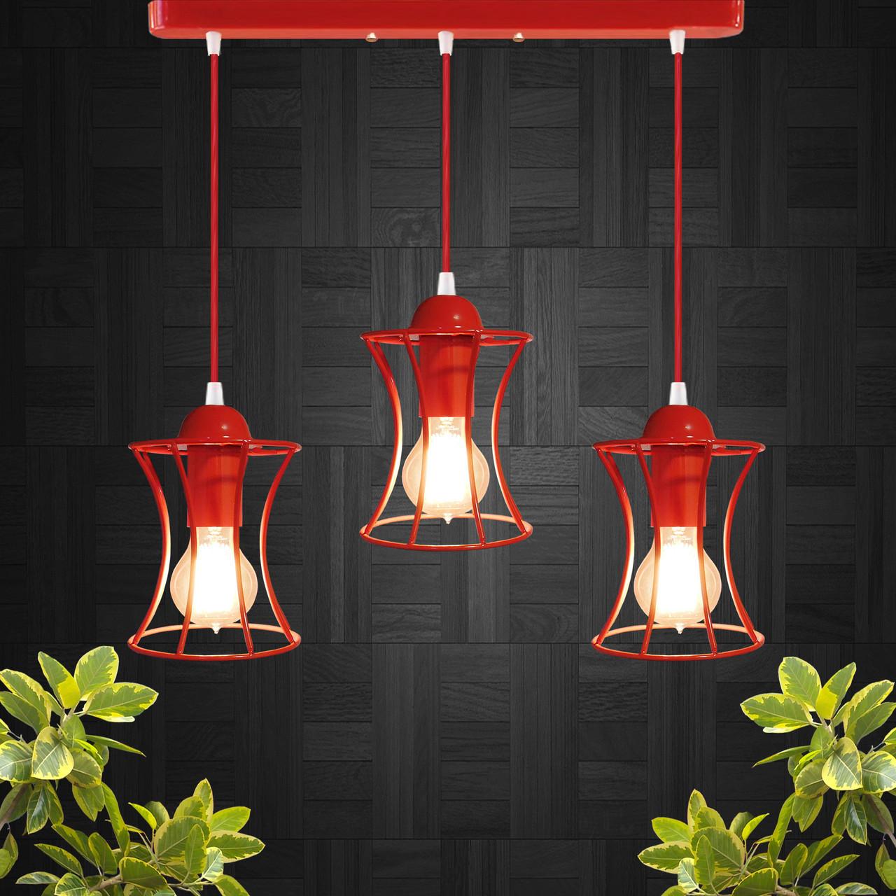 """Подвесной металлический светильник, современный стиль, loft, vintage """"SANDBOX-3R"""" Е27  красны цвет"""
