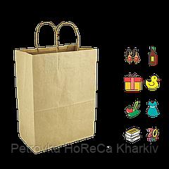 Бумажный пакет крафтовый с кручеными ручками 210*110*280мм (Ш.Г.В) Пл 70г Нагр 3кг (698)